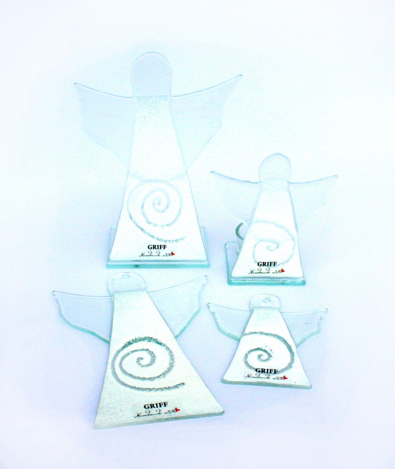Dekorace do bytu Skleněný dekorační SVÍCEN anděl na čajovou svíčku GRIFFglass originální, skleněné dekorace do bytu