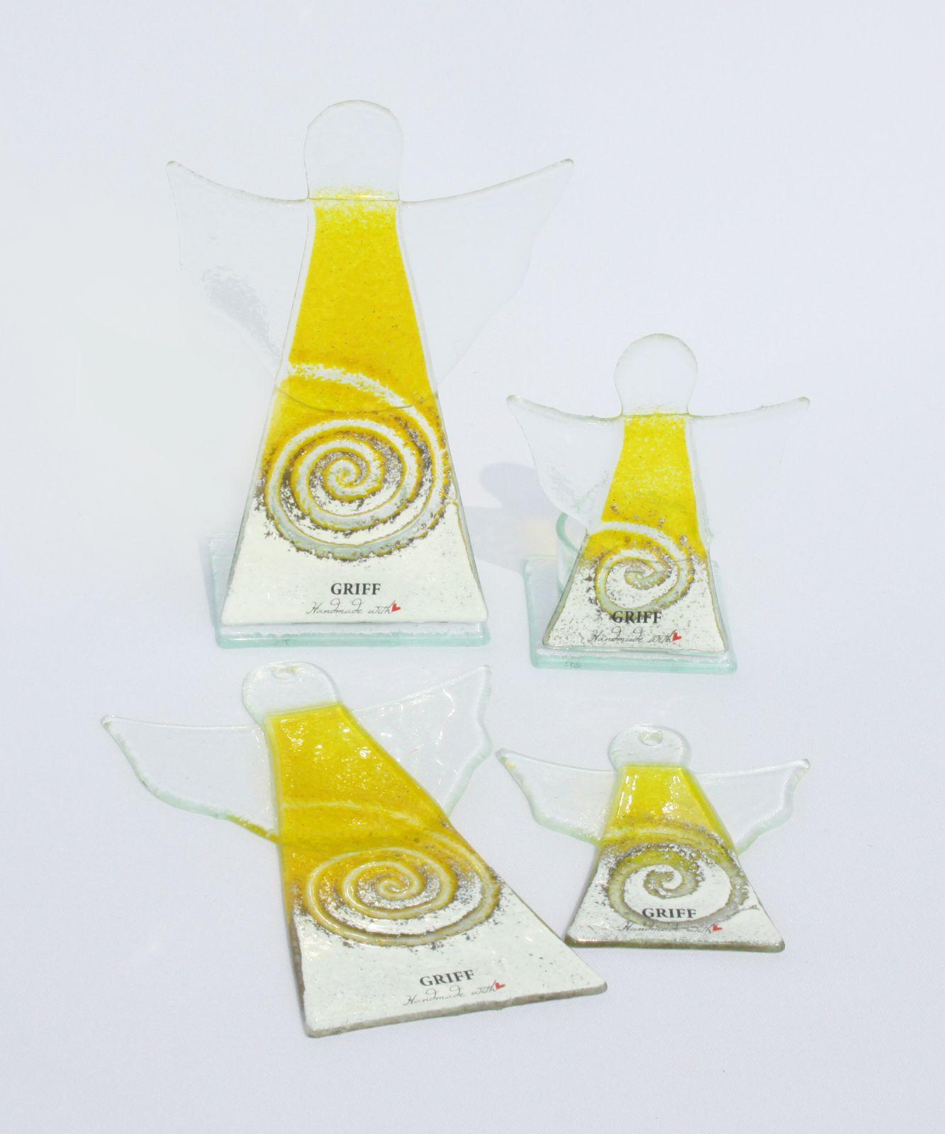 Dekorace do bytu Skleněný dekorační svícen anděl na čajovou svíčku - žlutý GRIFFglass originální, skleněné dekorace do bytu