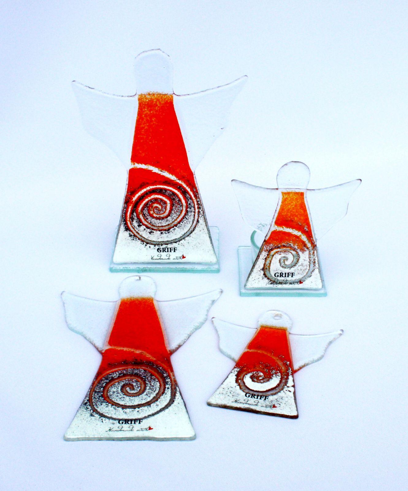 Dekorace do bytu Skleněný dekorační svícen anděl na čajovou svíčku - oranžový GRIFFglass originální, skleněné dekorace do bytu